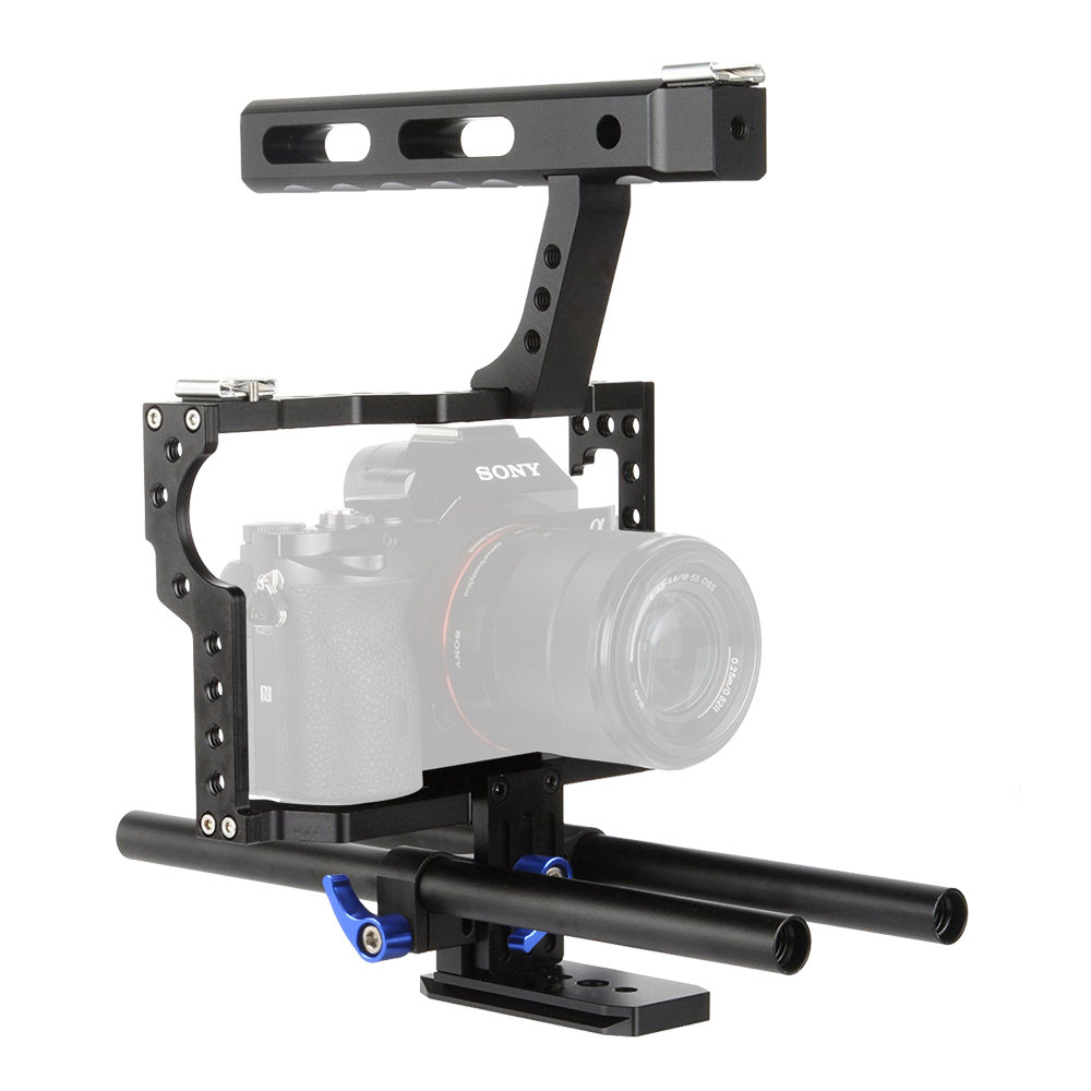 Lightdow VD 07 15mm Rod Rig DSLR Camera Cage Kit Stabilizer+Top Handle Grip for Sony A7 II A7r A7s A6300 A6000 Panasonic GH4 GH3