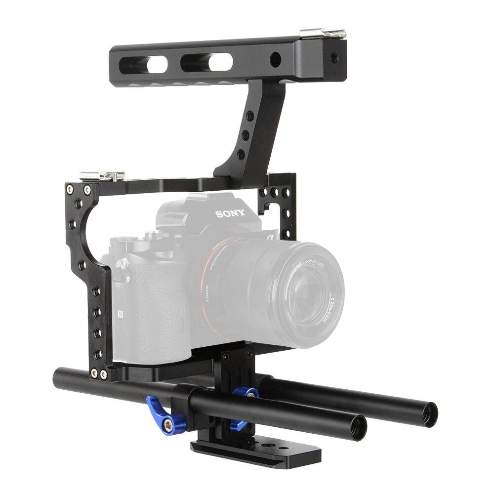 Lightdow VD-07 15mm tige plate-forme DSLR caméra Cage Kit stabilisateur + poignée supérieure poignée pour Sony A7 II A7r A7s A6300 A6000 Panasonic GH4 GH3