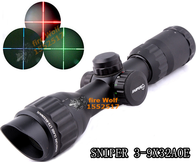 SNIPER 3-9X32AOL Mil Dot Air Rifle Gun Deer night vision Hunting Scope Telescopic Sight Riflescope with 20mm/11mm rail mount 4x 30mm red green mil dot reticle rifle scope with gun mount black 3 x ag13 1 x cr2032