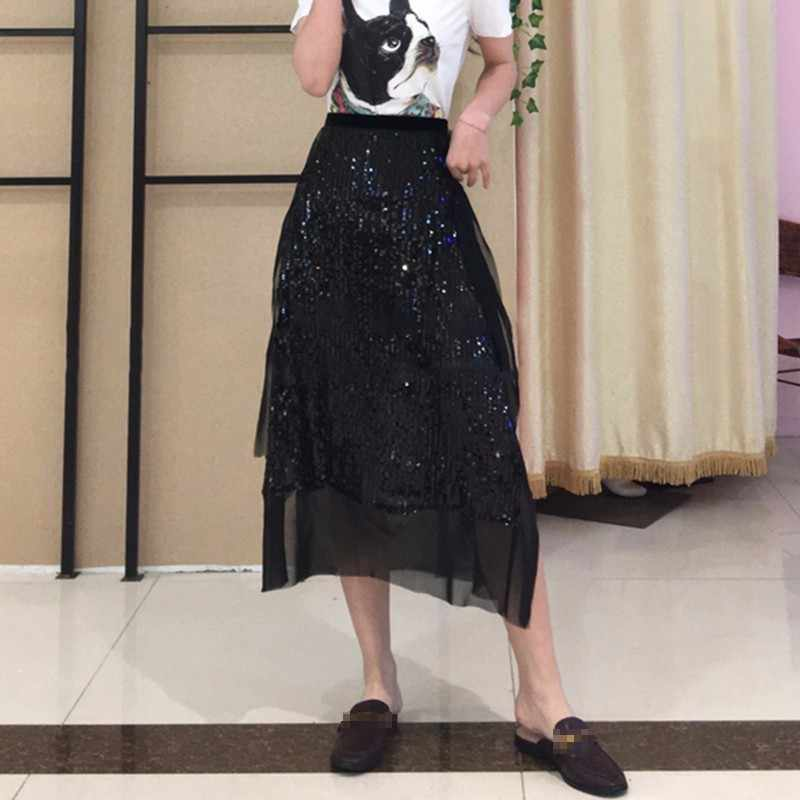 TWOTWINSTYLE Pailletten Rock Frauen Hohe Taille Mesh Rüschen Patchwork Split Midi Röcke 2019 Sommer Mode Große Größe Harajuku