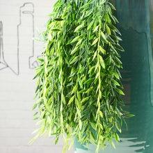 55cm1pc flores artificiais rattan falso folhas de parede pendurado rattan decoração para casa folhas verdes folhas de salgueiro pendurado plantas de videira