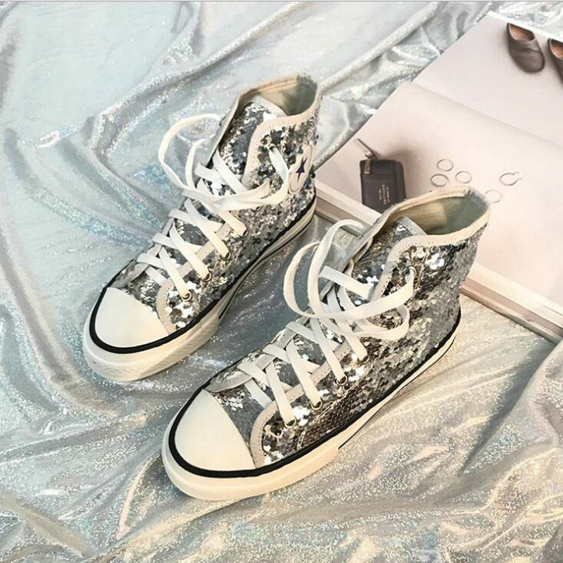 Tleni 2018 New High Top White Women Flats running Shoes Ladies Canvas Shoes lace-up Bling Bling sneaker shoes ZK-20 6