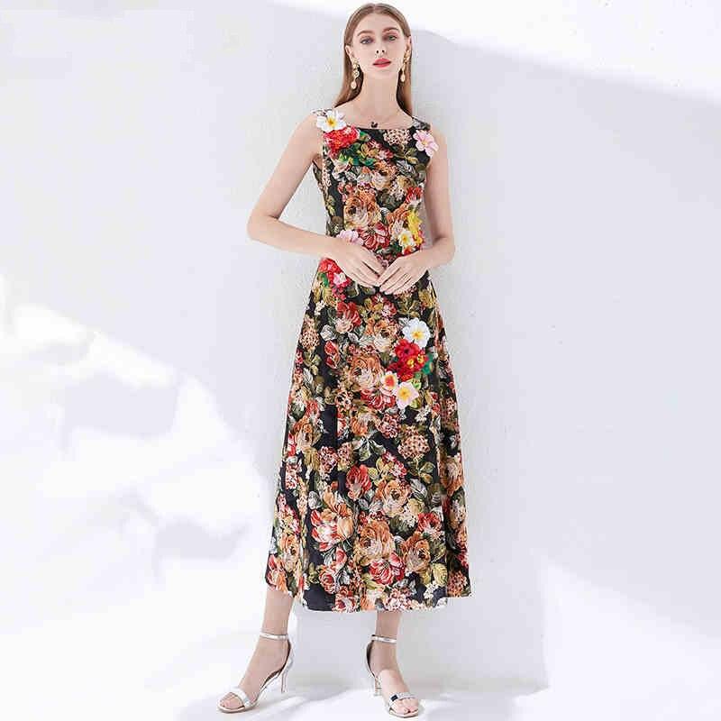 2019 Herfst Mode Bloemenprint Applicaties Jurk Hoge Kwaliteit Zoete Mouwloze Vrouwelijke Slanke Luxe Jurk-in Jurken van Dames Kleding op AliExpress - 11.11_Dubbel 11Vrijgezellendag 1