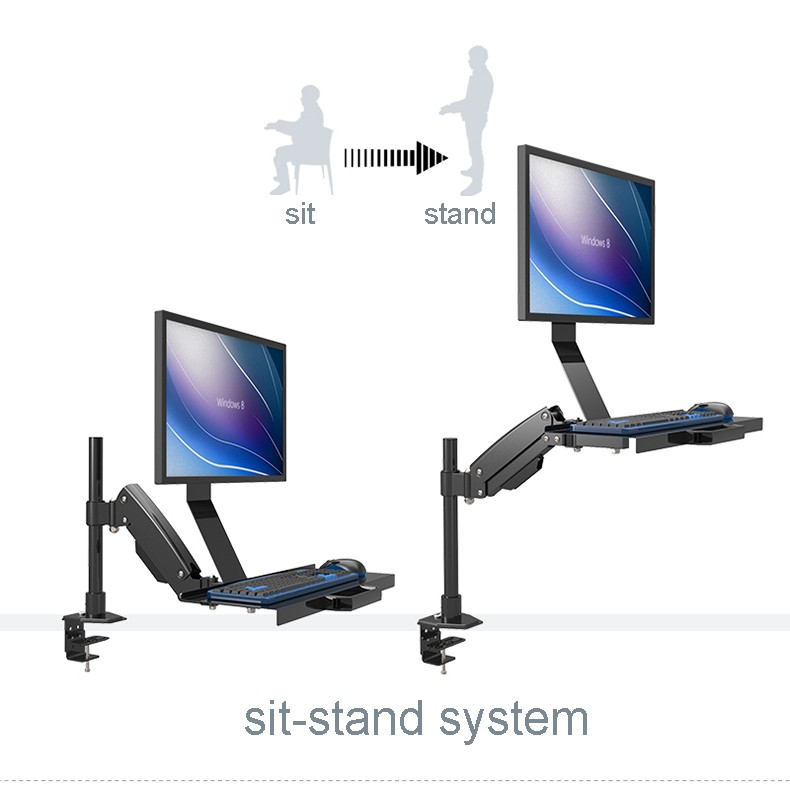 W809 Desktop Mount Full Motion Gas Spring Arm Computer Monitor Holder +Keyboard Holder Mount Stand Sit-Stand Workstation