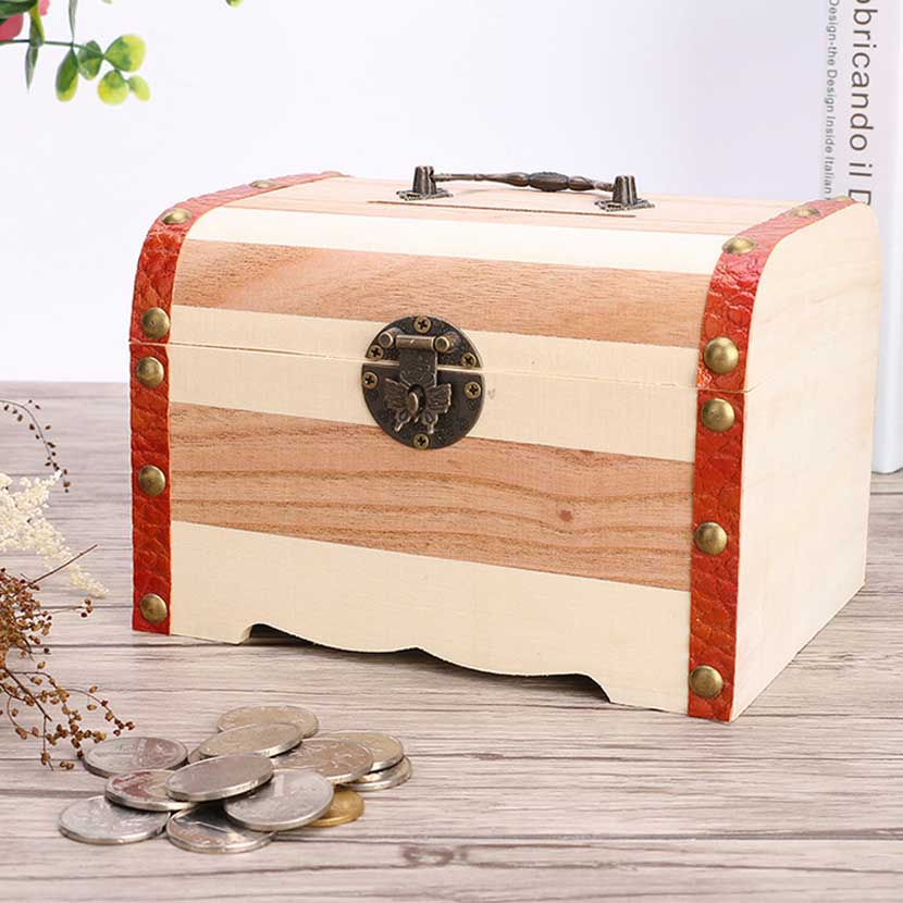 Wooden Safe Box Money Piggy Bank Savings With Lock Wood Carving Handmade Artware Gift Decoration Coins Cash Saving Money Boxes wooden treasure chest with lock piggy bank piggy bank large wooden storage box variety of optional 197 150 146mm