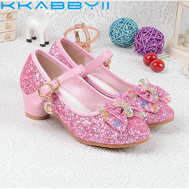 2018 Spring Kids Girls Shoes High Heels For Party Sequined Blue Pink Sandals Ankle Strap Snow Queen Children Girls Shoes