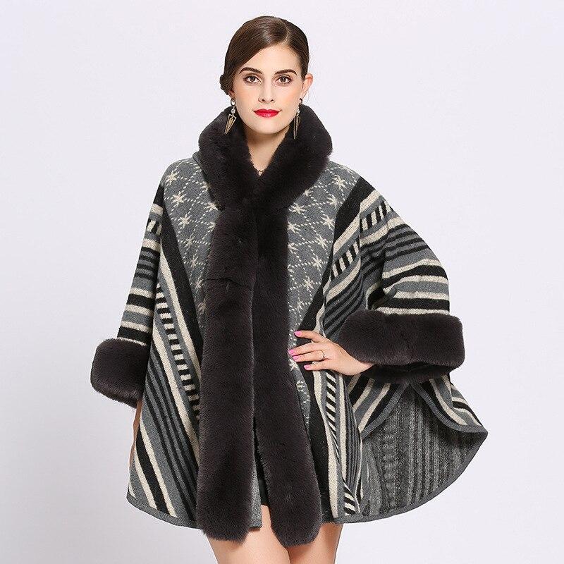 Mingjiebihuo New Fashion Winter Women's Fashion Geometrical Shawl Warm Thick Large Size Comfortable Soft Loose Fur Collar Poncho