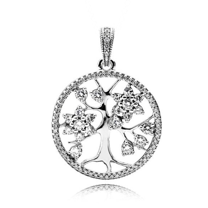 New 925 Sterling Silver Bead Charm Openwork Family Tree With Crystal Necklace Pendant Fit Pandora Bracelet Diy Jewelry