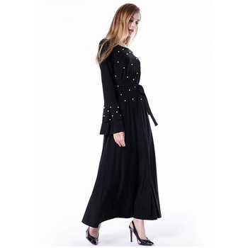 2019 Abaya Dubai Kaftan Islam Qatar Oman Pearls Muslim Hijab Dress Jilbab Robe Caftan Abayas For Women Turkish Islamic Clothing