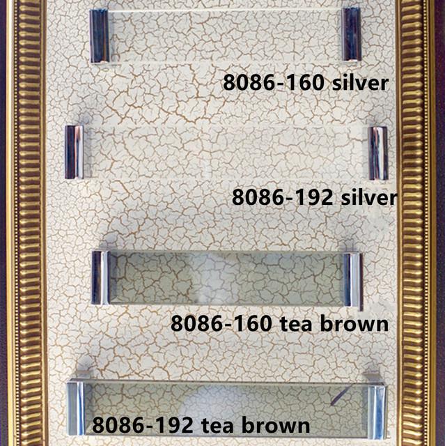 160mm de vidro moda moderna móveis lidar com cristal de prata roupeiro porta do armário cômoda lida com 192mm marrom chá de cristal puxar