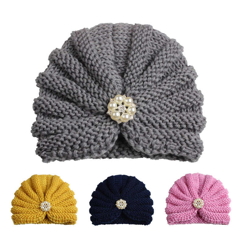 Fashion Winter Baby Girl Hats with Pearls Candy Color Knit Newborn Beanie Hat Baby Fotografia Cap Accessories 1 PC