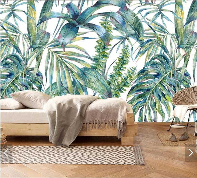 3d tropical leaves mural wallpaper for wall art hand painting wall3d tropical leaves mural wallpaper for wall art hand painting wall papers roll for living room papel de parede contact paper