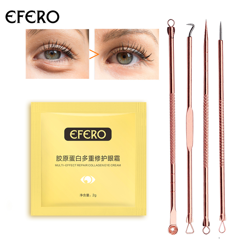 efero 4Pcs Double-Ended Stainless Steel Blackhead Pimples Acne Needle Rose Gold Comedone Acne Extractor Remover Tool Skin Care