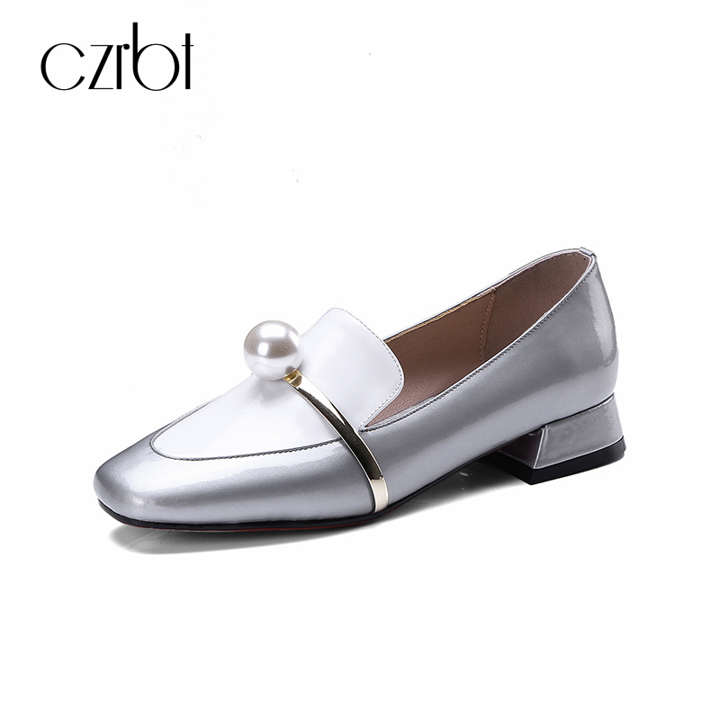 CZRBT Summer Pearl Low Heels 2.5cm Causal Shoes Shallow Mouth Women Shoes Comfortable Breathable Genuine Leather Shoes Pumps