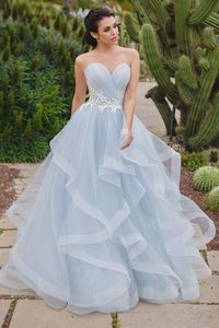 Image 2 - Special Sweetheart Neckline Sleeveless A line Pleat Wedding Dress with Lace Applique Belt Lace up  Layering Tulle Bridal Dress