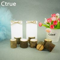12PC Archaize Branch Wooden Stump Shape Wedding Party Reception Place Card Holder Stand Number Name Menu