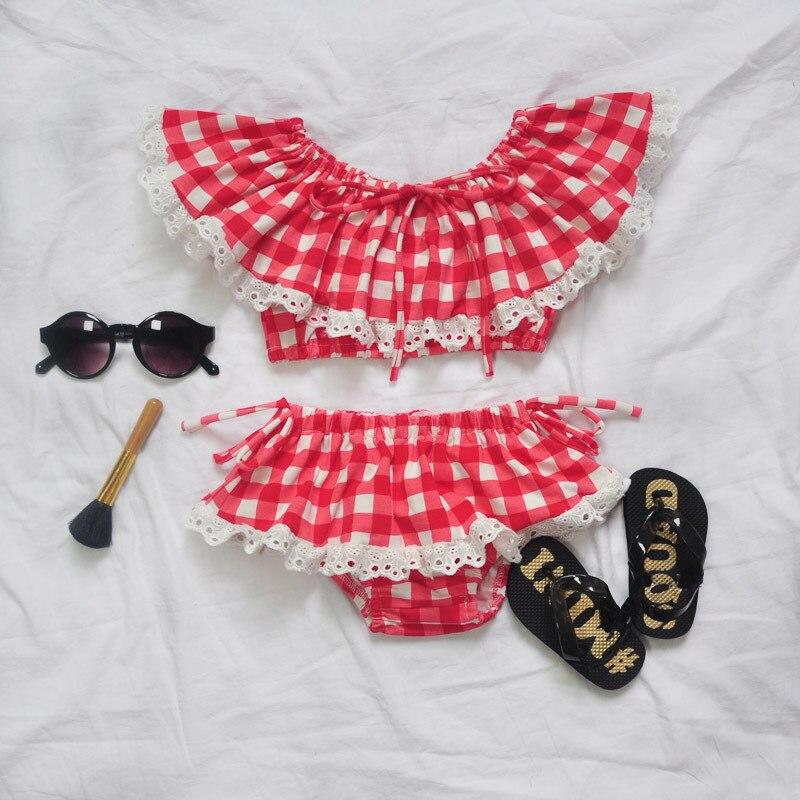 INS HOT KIDS plaid 2 pcs short+t shirts SWIM WEARS KIDS SWIM SUITS BABY GIRL CLOHTES GIR ...