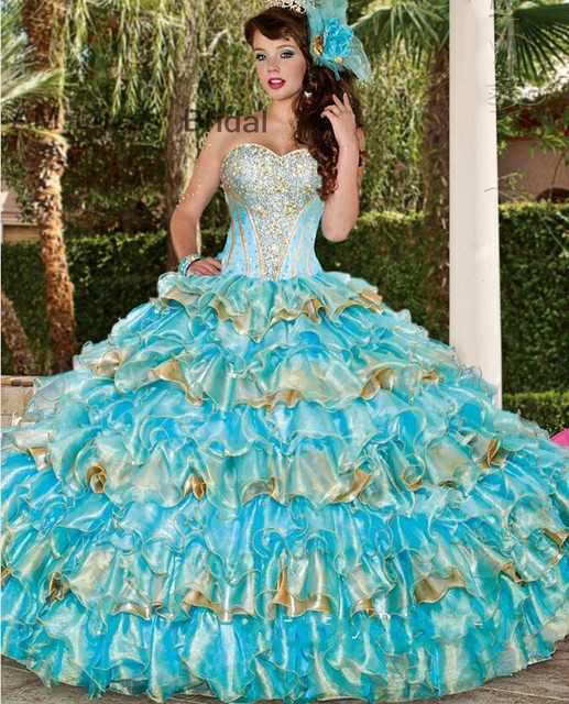 ac64c26ca14 Ice Blue Gold 2017 Ball Gown Quinceanera Dresses Tiered Ruffles Lace Up For 15  Years Vestido