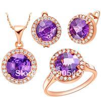 OMH hurtownia mody różowe złoto fioletowy i czerwony kryształ okrągły kształt Kobiety dziewczyny prezent Naszyjnik + Kolczyki + Pierścień Biżuteria setsTZ62