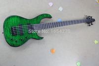 Free Shipping New Banjo Clouds Pattern Green Bass Guitar Electric Guitar Modifications May Be Required 150717