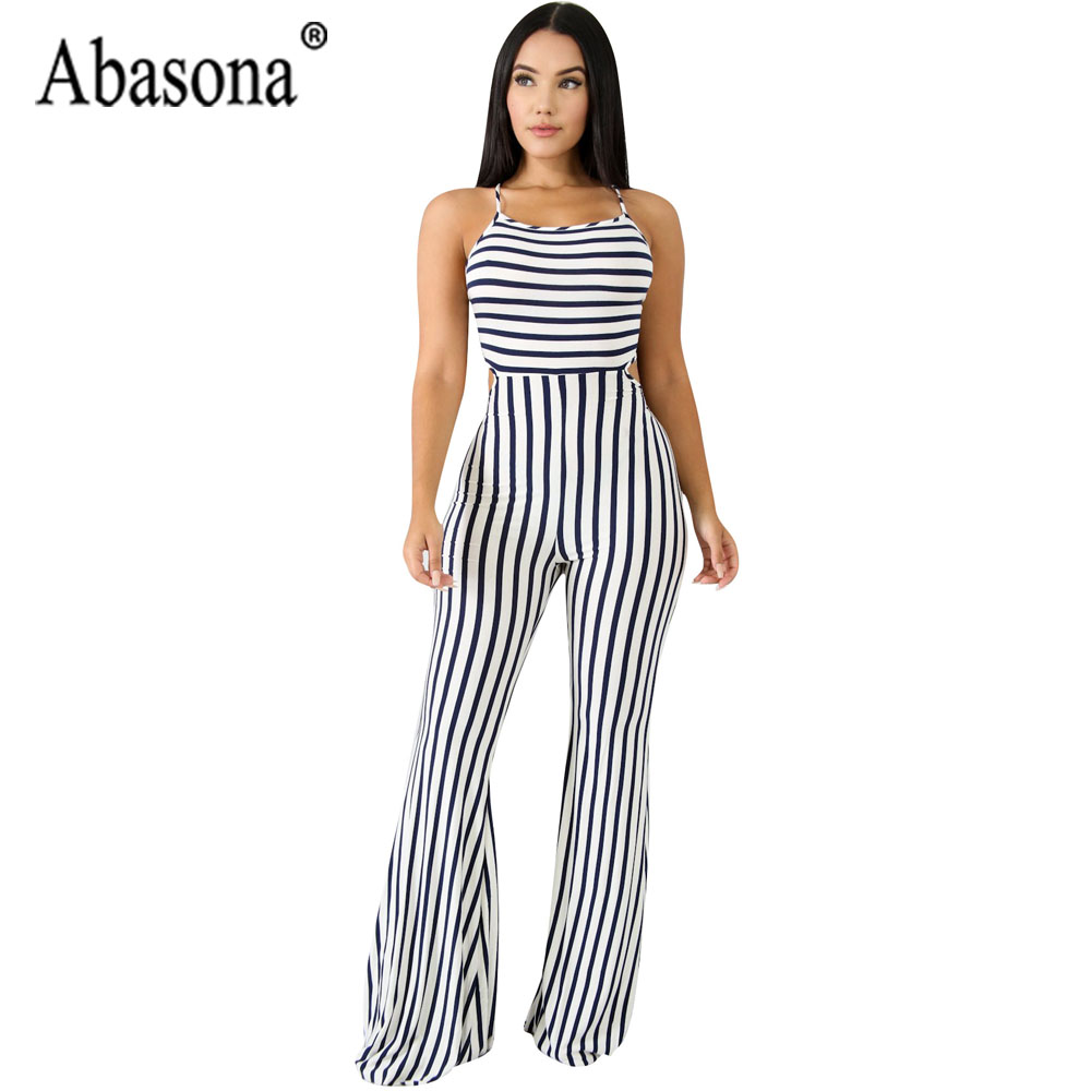 Abasona Summer Women Black And White Striped Long Jumpsuit Sexy Wide Leg Backless Sleeveless Strap Jumpsuit Clubwear Playsuits