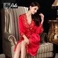Горячей продажи 100% Шелк красный женщины платье устанавливает сексуальные Шелковые дамы халат сексуальный ночной рубашке благородный элегантный качество халат пижамы для женщины