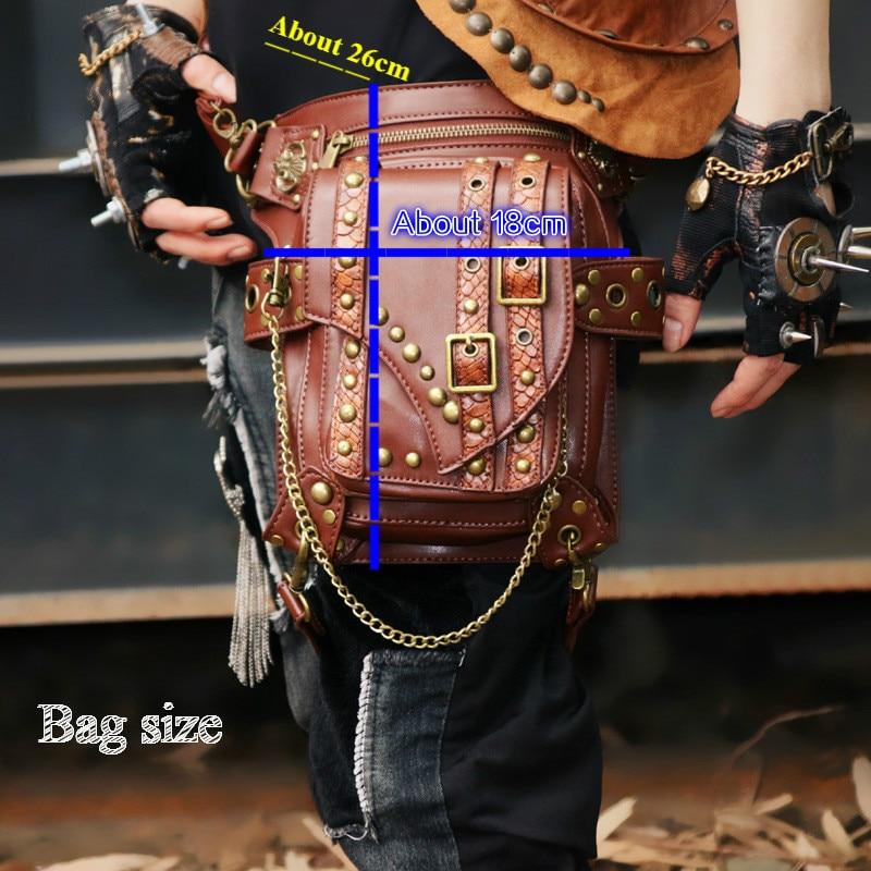 Retro Ladies Bag Locomotive Chain Package Ladies Shoulder Messenger Bag Male Pockets Punk / Rock Bag Dropship