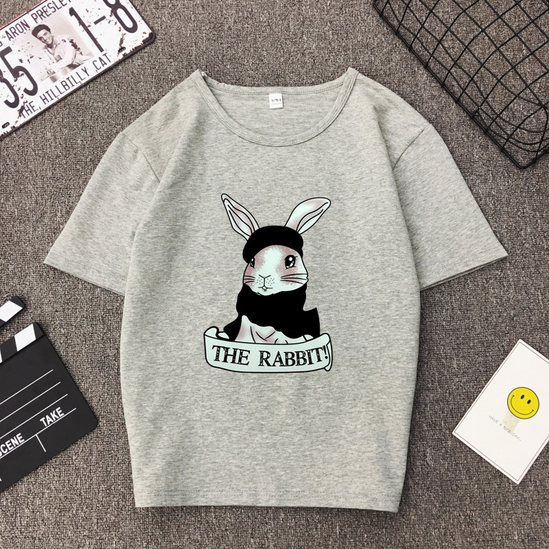 Cute Rabbit Print Women Tshirt High Quality Short Sleeve Round Neck Cotton Spandex Women Tops Casual Loose Women T-shirt 4