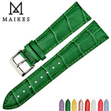 MAIKES watch accessories 16mm 18mm 20mm 22mm band genuine cow leather strap fashion color green women watchbands