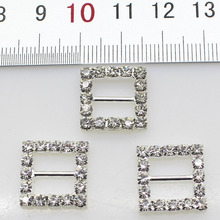 10pcs/Lot 16MM Square Silver Rhinestones Buckles Metal Diamante Diy Hair Accessory Wedding Decorative Ribbon deduction(China)