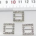 10pcs/Lot 16MM Square Silver Rhinestones Buckles Metal Diamante Diy Hair Accessory Wedding Decorative Ribbon deduction