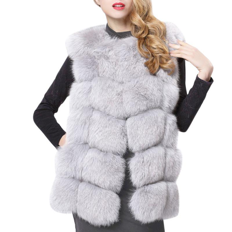Women Faux Fur Coat Plus Size Sleeveless Vest Shaggy Fluffy Jackets Black Red Grey Green Pink Blue Fur Vests Cardigan Femme