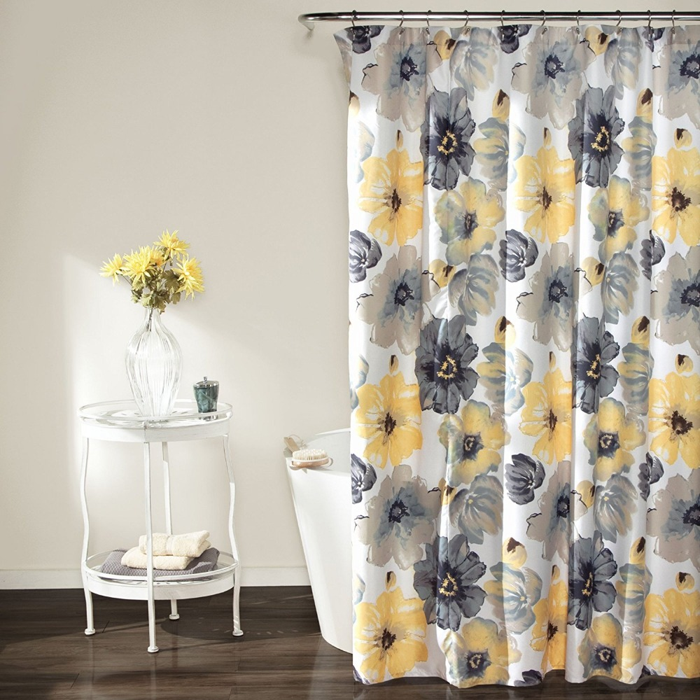 Lush Decor Leah Shower Curtain Printing Waterproof Mildewproof Polyester Fabric Bath Bathroom Yellow Gray