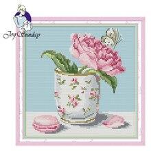 Joy Sunday,Flower in cup,cross stitch embroidery,printing cloth embroidery,Flower cross embroidery,cross pattern