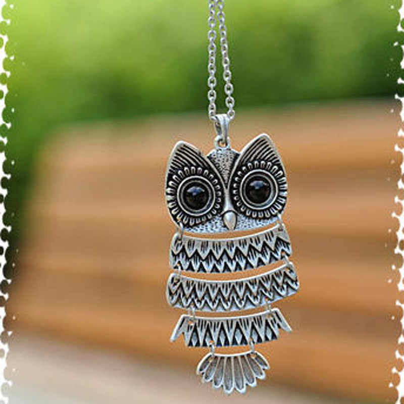 1 pc Retro Jewelry Vintage Ancient Bronze Big Eyes Owl Necklace Kitty Cat Pendant Statement Long Chain Choker Gift for girl