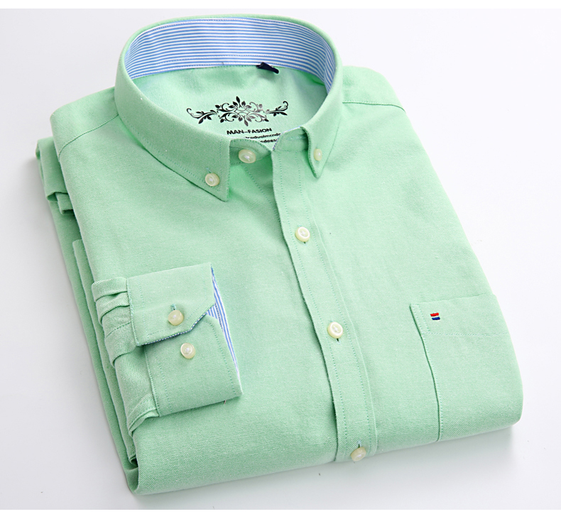 Mens Long Sleeve Solid Oxford Dress Shirt with Left Chest Pocket High-quality Male Casual Regular-fit Tops Button Down Shirts 15
