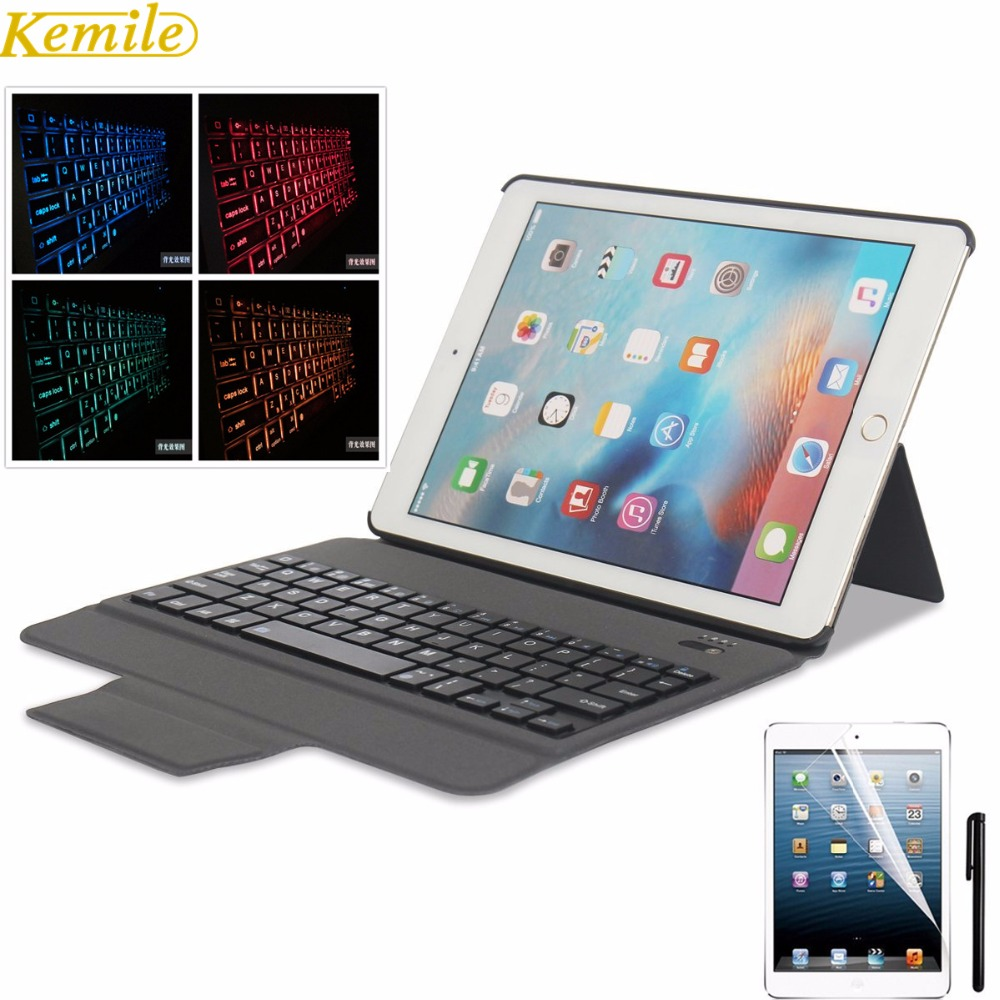 Kemile  7 Colors Backlit Light Ultra Slim Bluetooth Keyboard with  Leather Case Cover tablet for 2017 iPad/iPad pro9.7/Air2/Air universal 61 key bluetooth keyboard w pu leather case for 7 8 tablet pc black