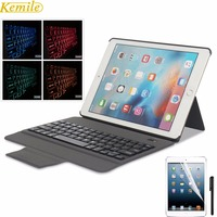 Kemile 7 Colors Backlit Light Ultra Slim Bluetooth Keyboard With Leather Case Cover Tablet For 2017