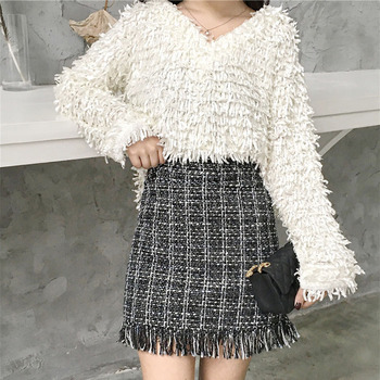 Women Woolen Mini Skirt Autumn Winter Vintage Straight Plaid Tassel Skater Skirt High Waist Femininas Skirts