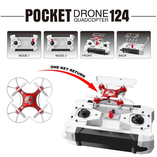 FQ777-124 Bolso dron Kvadrokopter 2.4G 4CH 6-Axis Gyro RC rtf avião mini feito controle remoto mi helicóptero toys para meninos