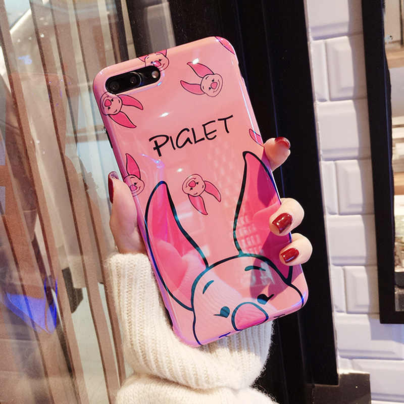 Fundas de teléfono de dibujos animados Jamular Winnie Piglet para iphone XS MAX X XS XR Blu-ray funda de TPU suave brillante para iphone 7 8 6 s Plus Fundas