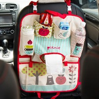 Cute Cartoon Car Back Seat Organizer Oxford Fabric Multi Pocket Baby Kids Car Seat Hanging Bag