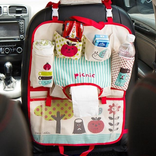 cute cartoon car back seat organizer oxford fabric multi pocket baby kids car seat hanging