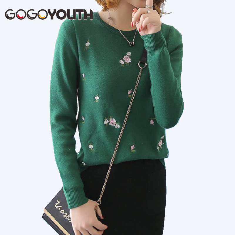 17957c0b80 TIGENA 2018 Embroidery Floral Knitted Sweater Women Winter Sweaters And Pullovers  Female Tricot Top Jumper Pull Femme