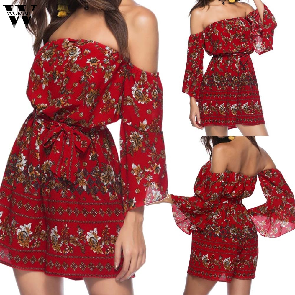 Womail bodysuit Women Summer Floral Printing Off Shoulder Sleeve Rompers   Jumpsuit   Playsuit overalls Fashion 2019 dropship f28