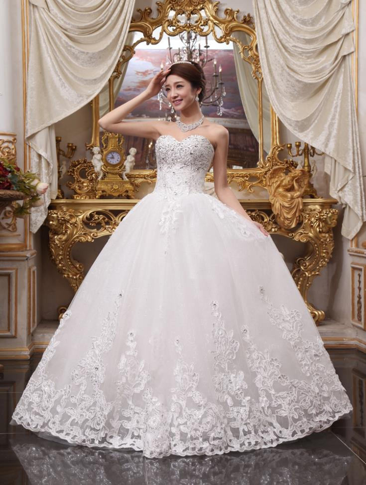 free shipping 2016 bandage tube decoration princess top rated lace up back handmade white luxury wedding dresses with crystal in Wedding Dresses from Weddings Events