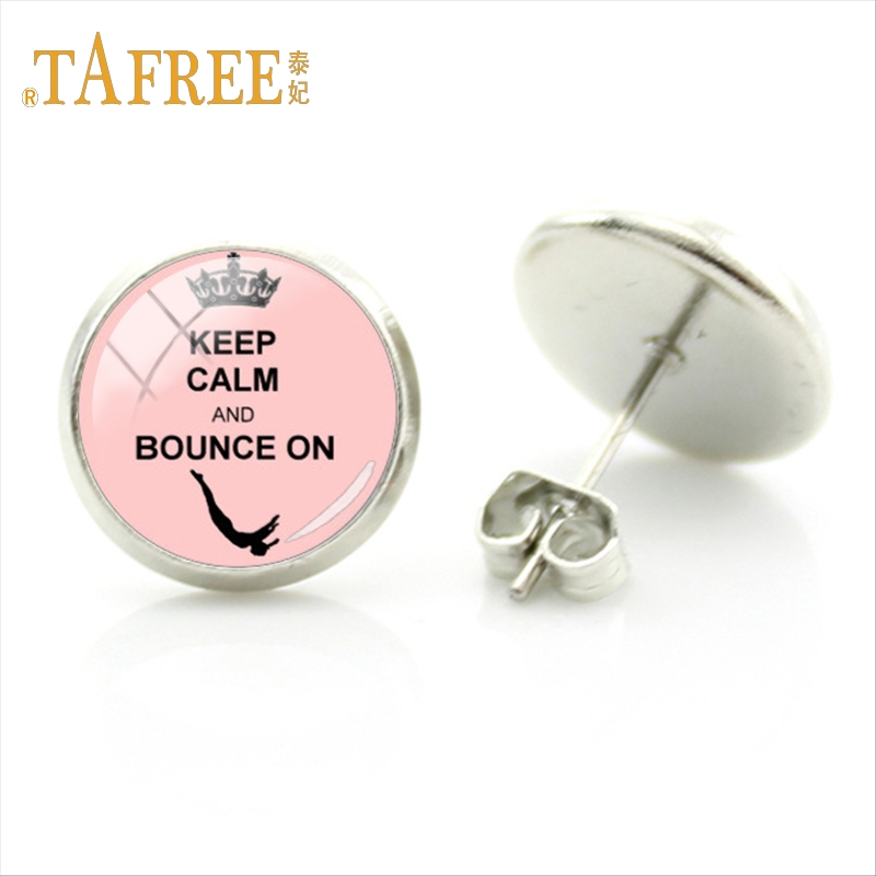 TAFREE Exquisite Round Student Studs Earring Graceful dancer Gymnastics Glamour Earrings Women Silver Plated Jewelry GY121