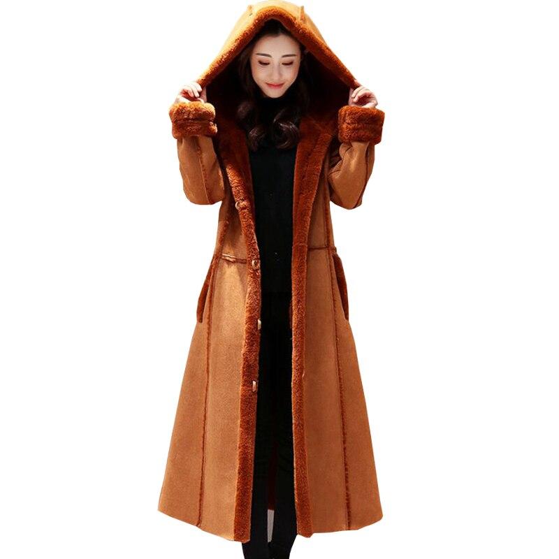 2018 New Faux Shearling Sheepskin Coats Women Thick Artificial   Suede   Jackets Women Autumn Winter Lambs Wool Thicken Warm Parkas