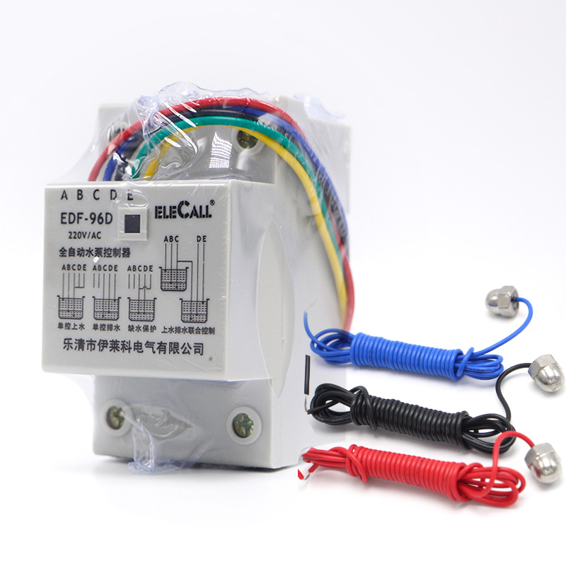 DF96D AC220V 5A Din Rail Mount Float Switch Auto Liquid Level Controller with 3 probes цена
