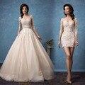 New Arrival Lace Mini Wedding Dresses 2017 Vintage Three Quarter Sleeves Bride Gowns With Detachable Train Vestido De Noiva